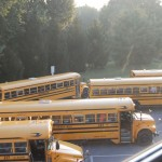 buses arriving at the high school