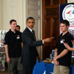 President Obama talks with the PM Rocket Team