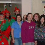 students and dressed-up elves