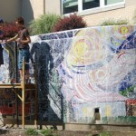Starry Night mosaic wall