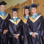 Pictured are the Class of 2011 commencement speakers. From left, Jesse Graham, Anderson Olson, Ben Clark, Helen Hutchens, Lars Andersen, and Katie Maisel