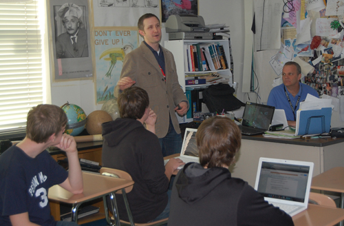 Jacob Bleacher visits Mr. Dave Bender's Earth Science class