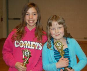 Eshleman fifth grade student Lisa Schaefer and Central Manor fifth grade student Morgan Huber