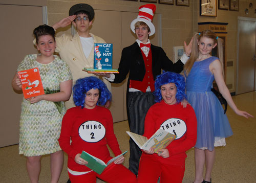 Cast members from the high school spring musical, Seussical