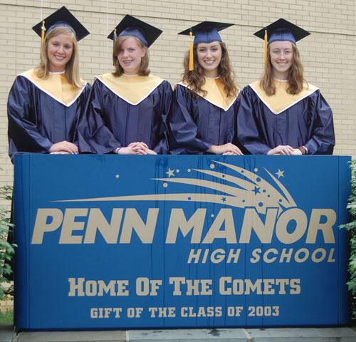 pictured from left: Megan Schlegelmilch (class officer), Mikayla Herbert (valedictorian), Ellen Blazer (salutatorian, class president), and Kayla Bixler