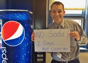 Brian Malek, Central Manor Elementary School teacher and assistant principal, is well into his goal of eliminating sodas from his diet