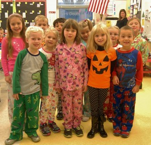 Martic first-graders in Melissa Douts' class show off their PJs.