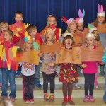 Pequea students dressed up as pilgrims, native Americans, preachers and turkeys