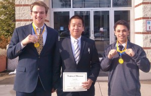 Pictured, from left, are FBLA members Jack Elliot, Steven Ho and Peter Lombardo.
