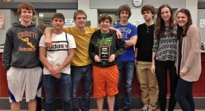 Pictured are members of the JV team, from left, Malachi Lyon, Jordan Martzall, Jack Zimmerman, Evan Toomey, Shawn Stone, Colin Brooks, Maura Leichliter and Emily Heckman.