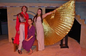 From left are James Reilly (Ramades), Dezire Diaz (Aida) and Abby Geiger (Amneris)