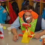 "Teacher John Matusek wasn't spared a ""pie"" in the face."