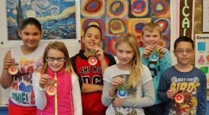 Hambright Elementary students with their handmade ornaments