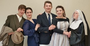 "Appearing in Penn Manor High School's ""Sound of Music"" are, from left, Paul Harrold (Max), Alyssa Crook (The Baronness), Alex Davis (Capt. Georg von Trapp), Abby Geiger (Maria) and Haley Hoffer (Mother Abbess)."
