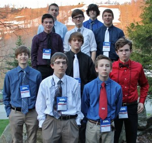 The HS TSA team included, from left, front row, Bryce Eberly, Max Minnick; second row, Trey Erisman, Drew Ebersole, Tom Hartenstine; third row, Colin Cunningham, David Lefever, Kyle Groff; and top row, Josh Hiltz and Ethan Getz.