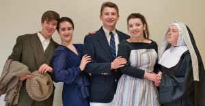 "Alyssa Crook, second from left, and Abby Geiger, second from right, have been honored for their acting in ""The Sound of Music."" They are pictured with fellow cast members, from left, Paul Harrold, Alex Davis and Haley Hoffer."
