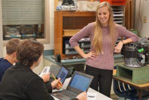 Ag teacher Meagan Slates with her students