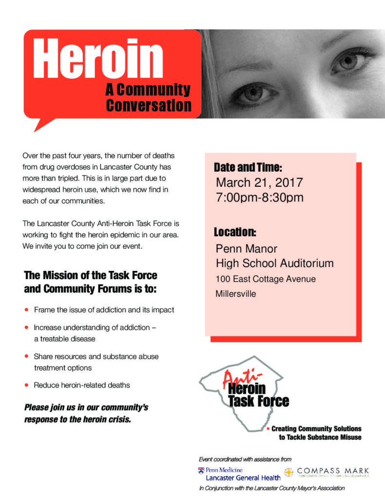 Heroin Community Conversation flyer for the March 21, 2017 event