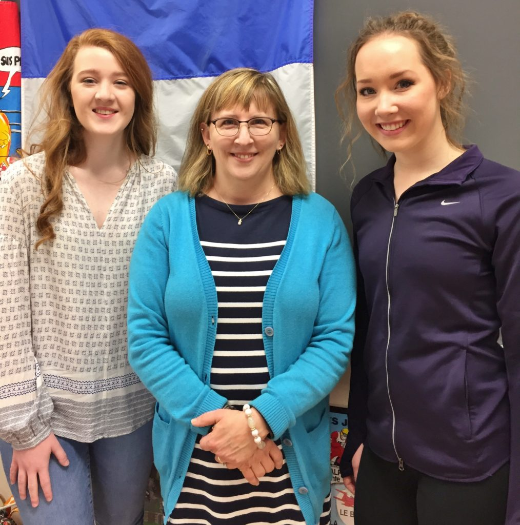 Callie Clonch, and Kiera Kirchner with teacher Maureen Klingaman.