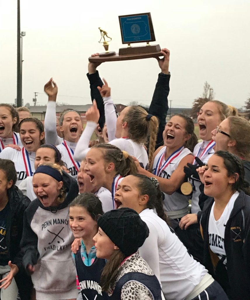 Penn Manor Field Hockey team celebrates with their 1st place trophy!