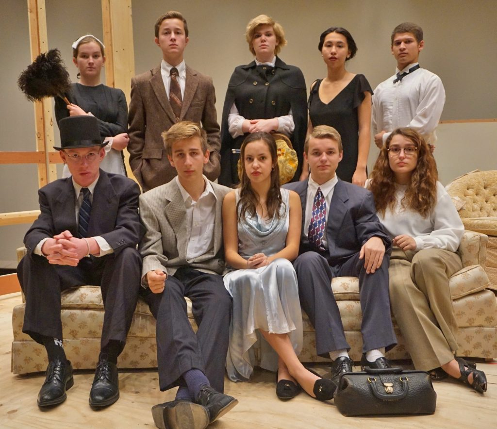 """Cast of """"And Then There Were None"""" Back row, from left, Marie Flinchbaugh, Alex Detter, Caitlin Moser, Adelyn Beans and Damien Allman; front row, from left, Garrison Webster, Max Minnick, Claudia Heitland, Alex Patterson and Kassidy Ponton."""