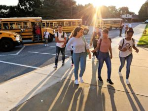 Penn Manor High School students arrive bright and early.