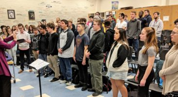 Choral students practicing