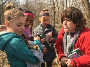 Master Naturalist Carol Welch helps students identify flowers and other species.