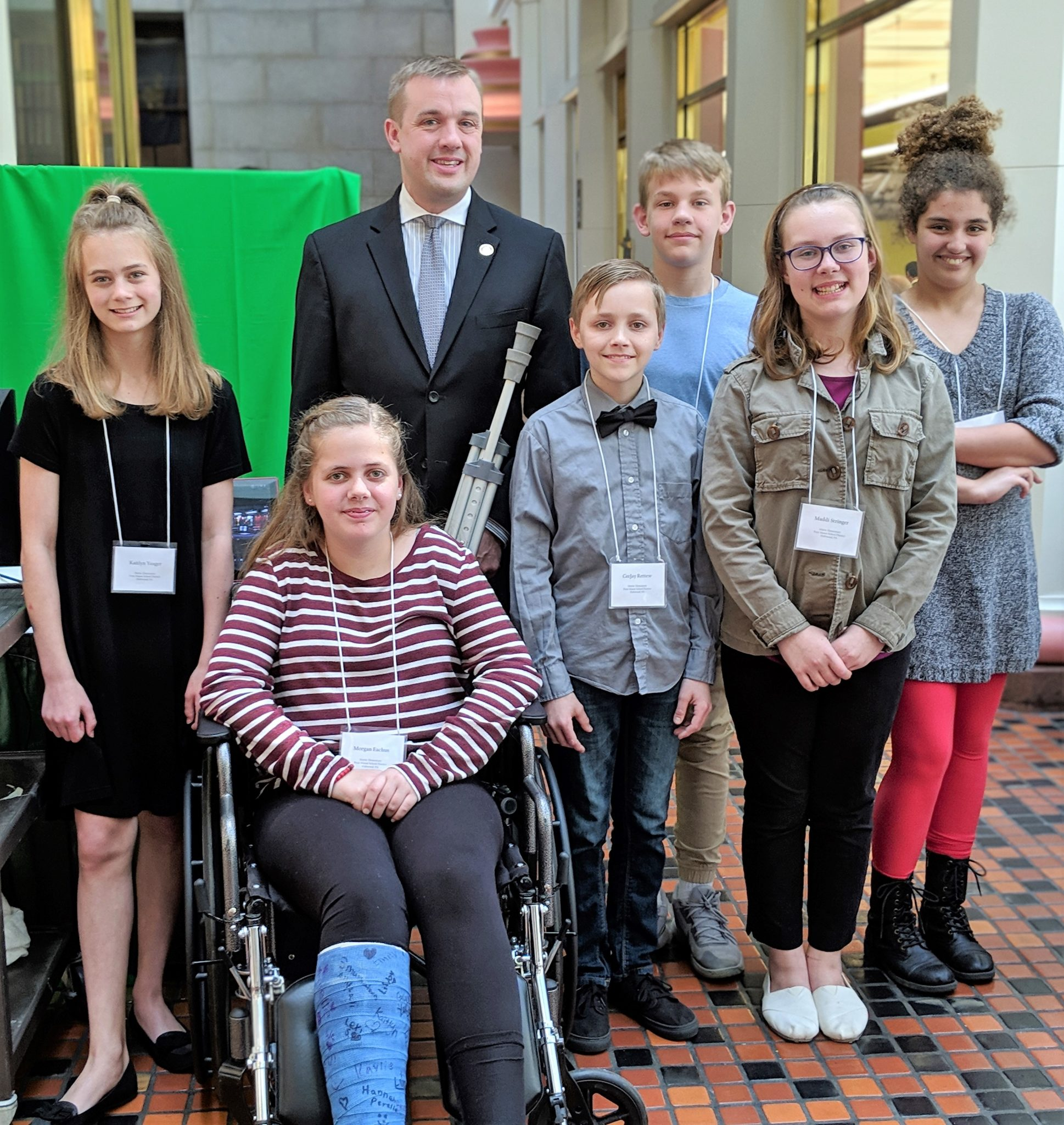 Martic students with state Rep. Bryan Cutler.