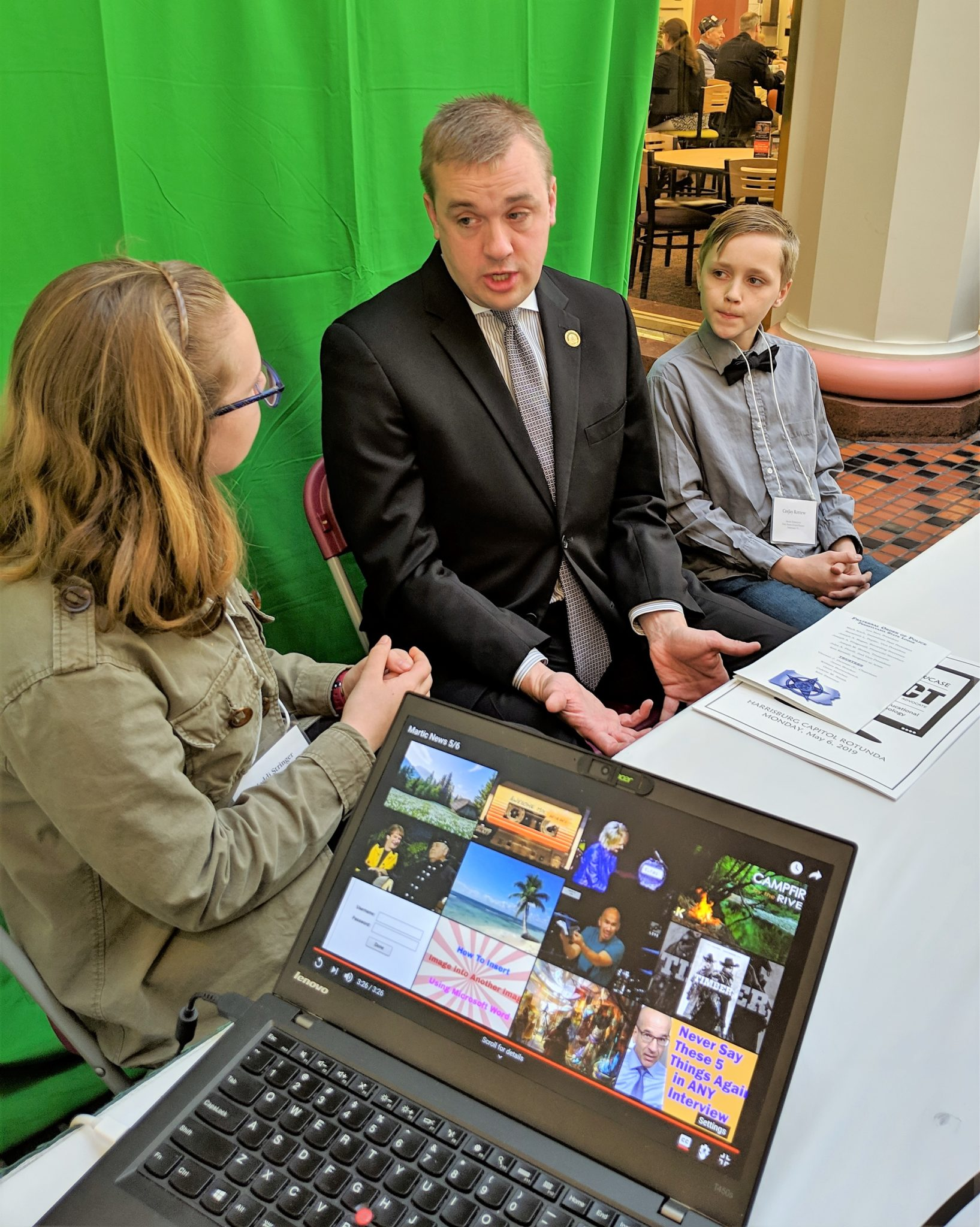 Martic students interview State Rep. Bryan Cutler for an upcoming school newscast .