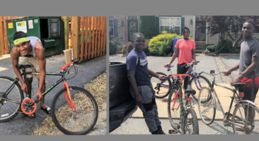 Donated bikes with students