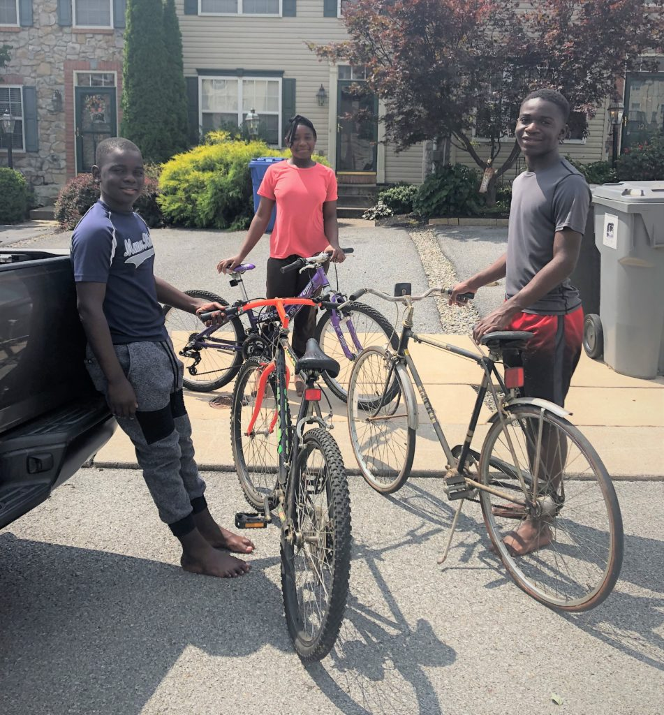 Students with donated bikes