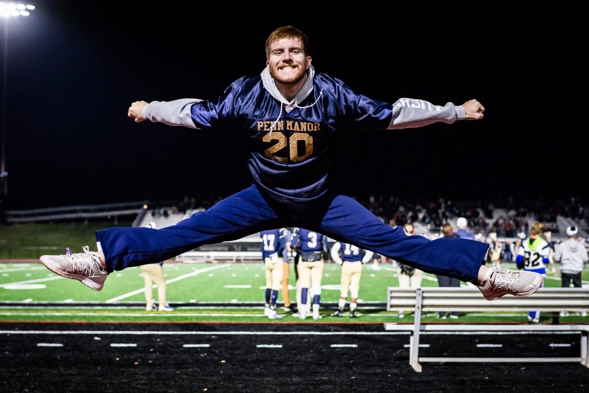 Cheerleader in mid air