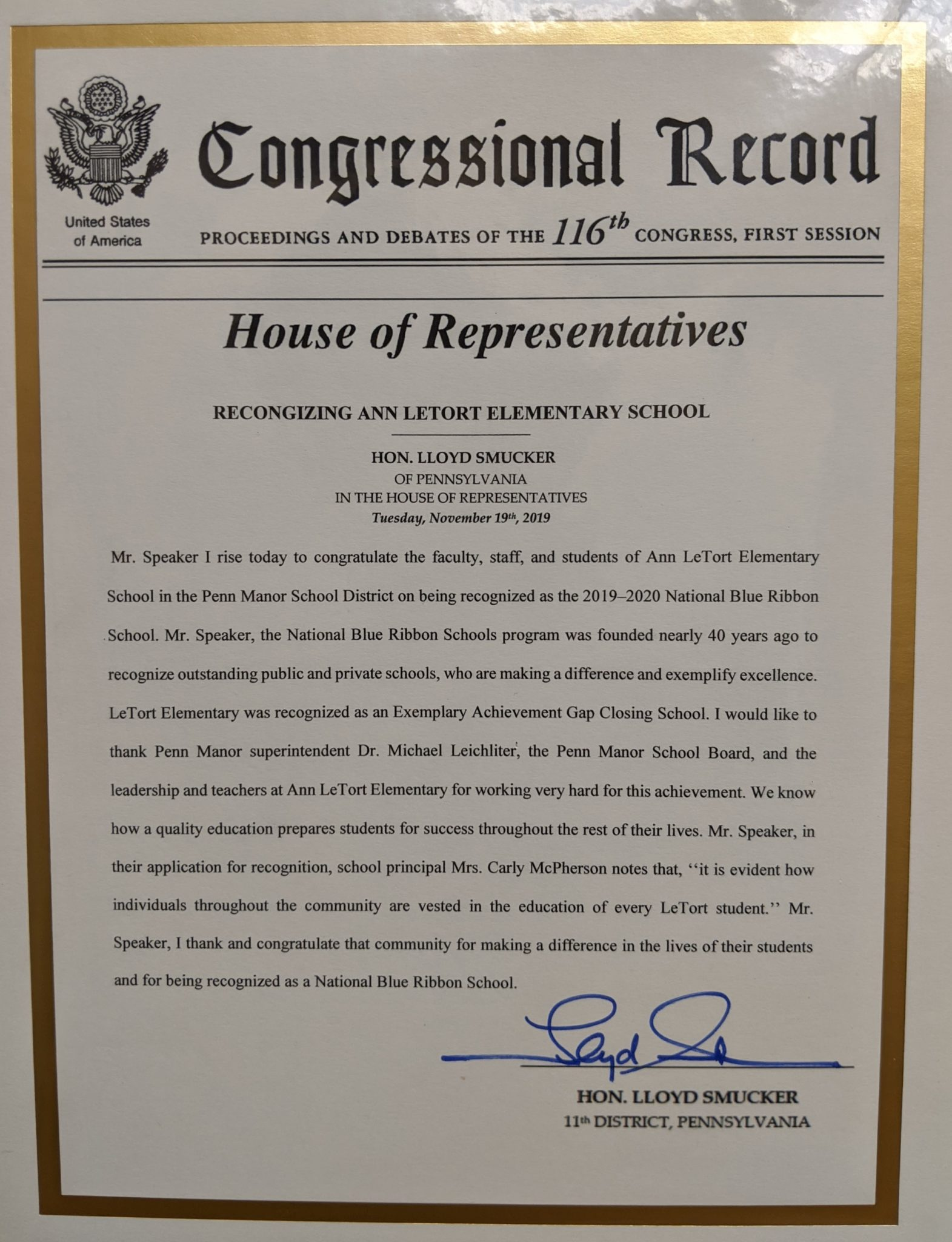 Rep. Smucker's proclamation in the House of Representatives