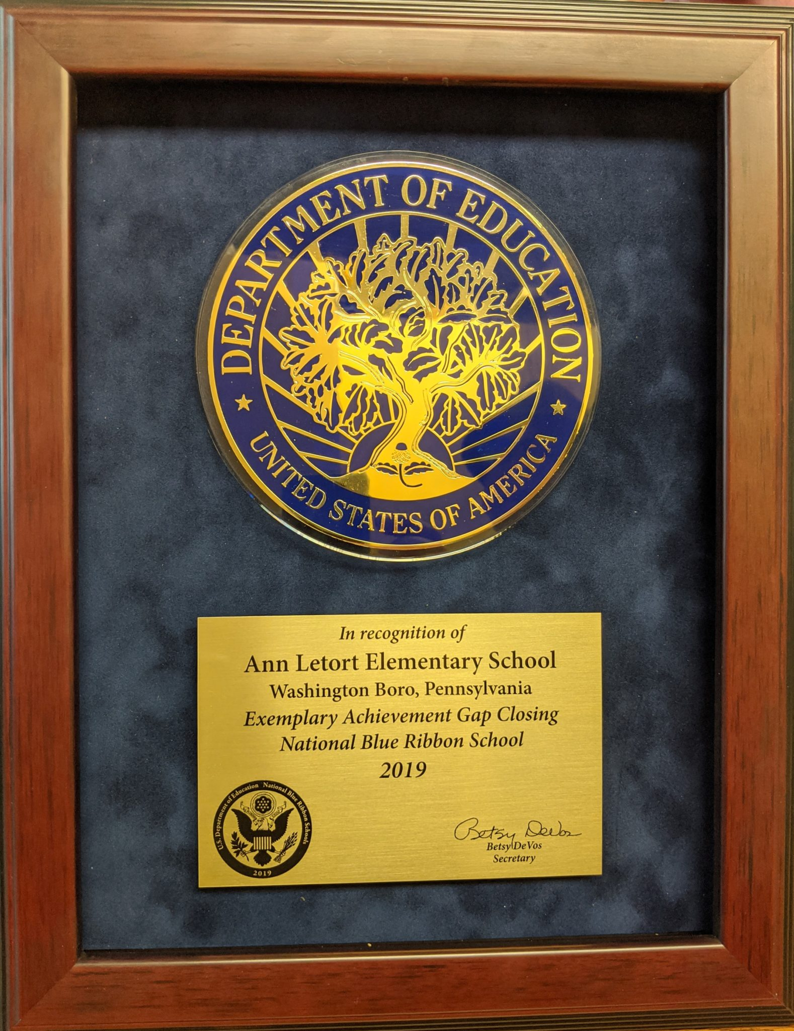 National Blue Ribbon School plaque.