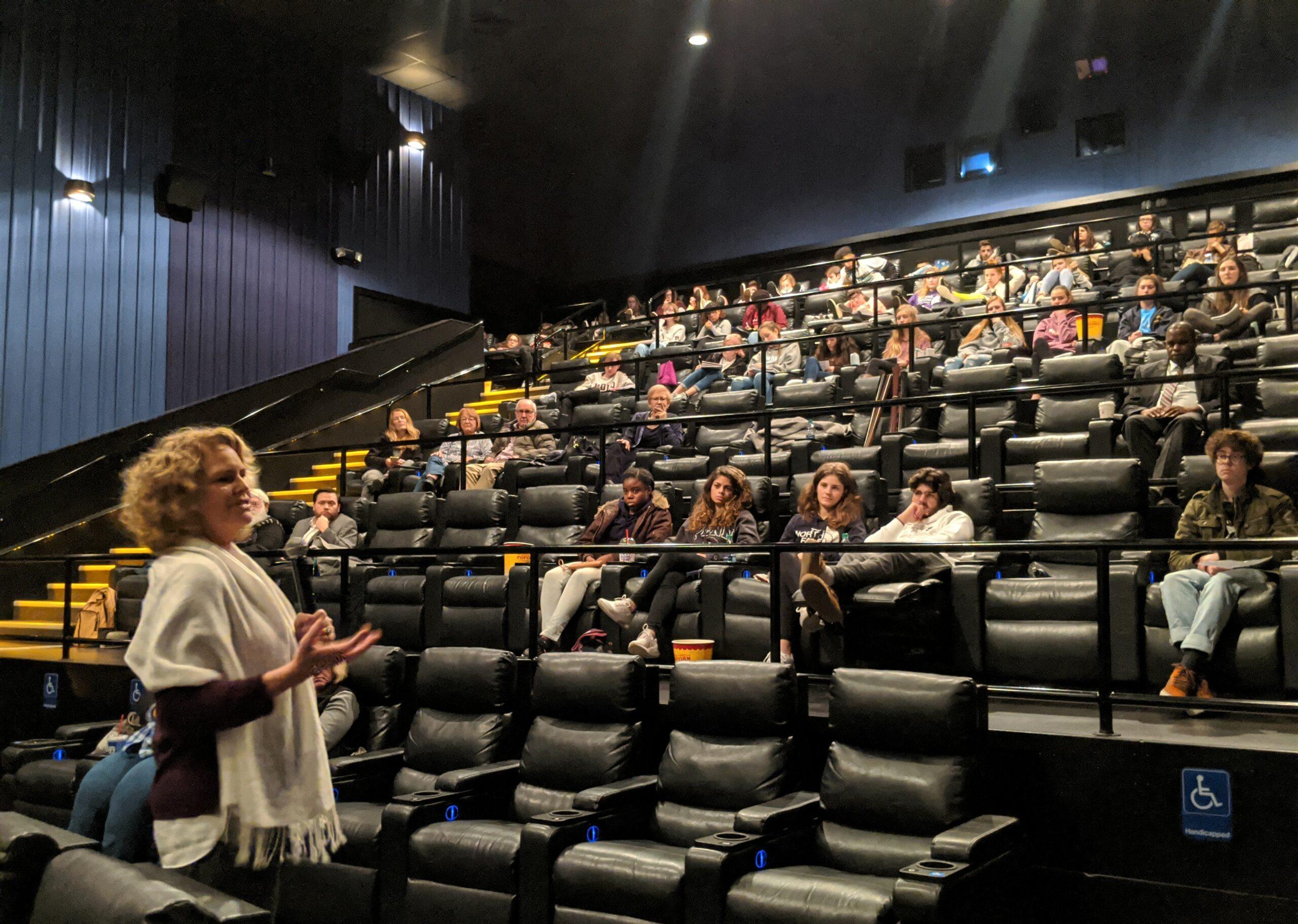 Author/historian Kate Clifford Larson talks to students inside Penn Cinema