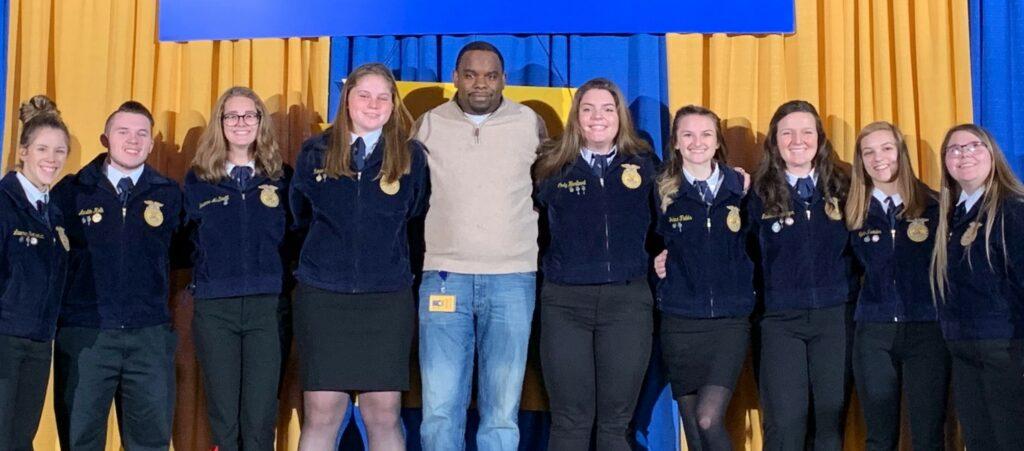 Keystone Award winners with high school principal Baron Jones.