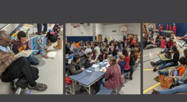 Parents read to their children at Letort Elementary School