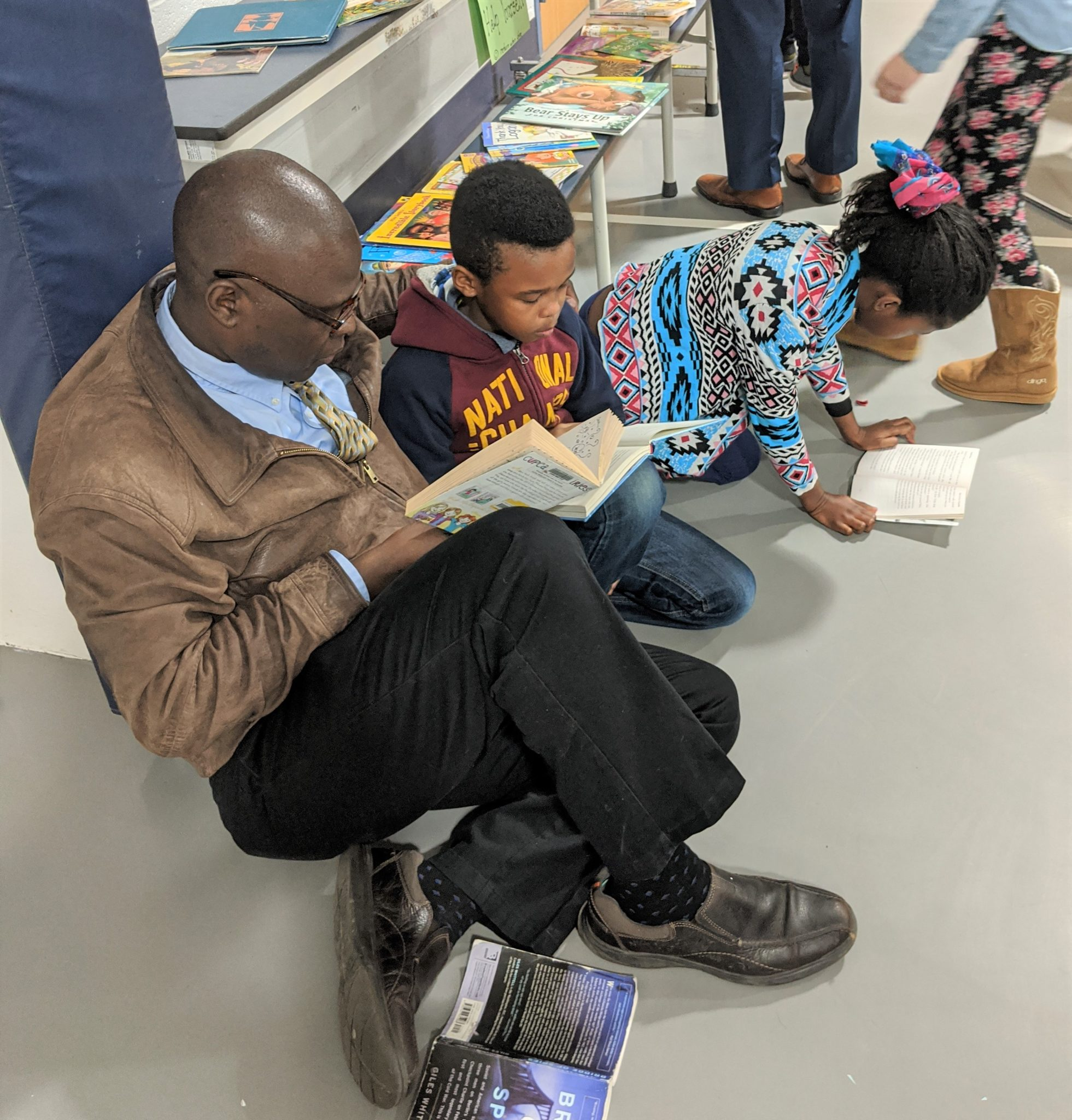Parent reading with children