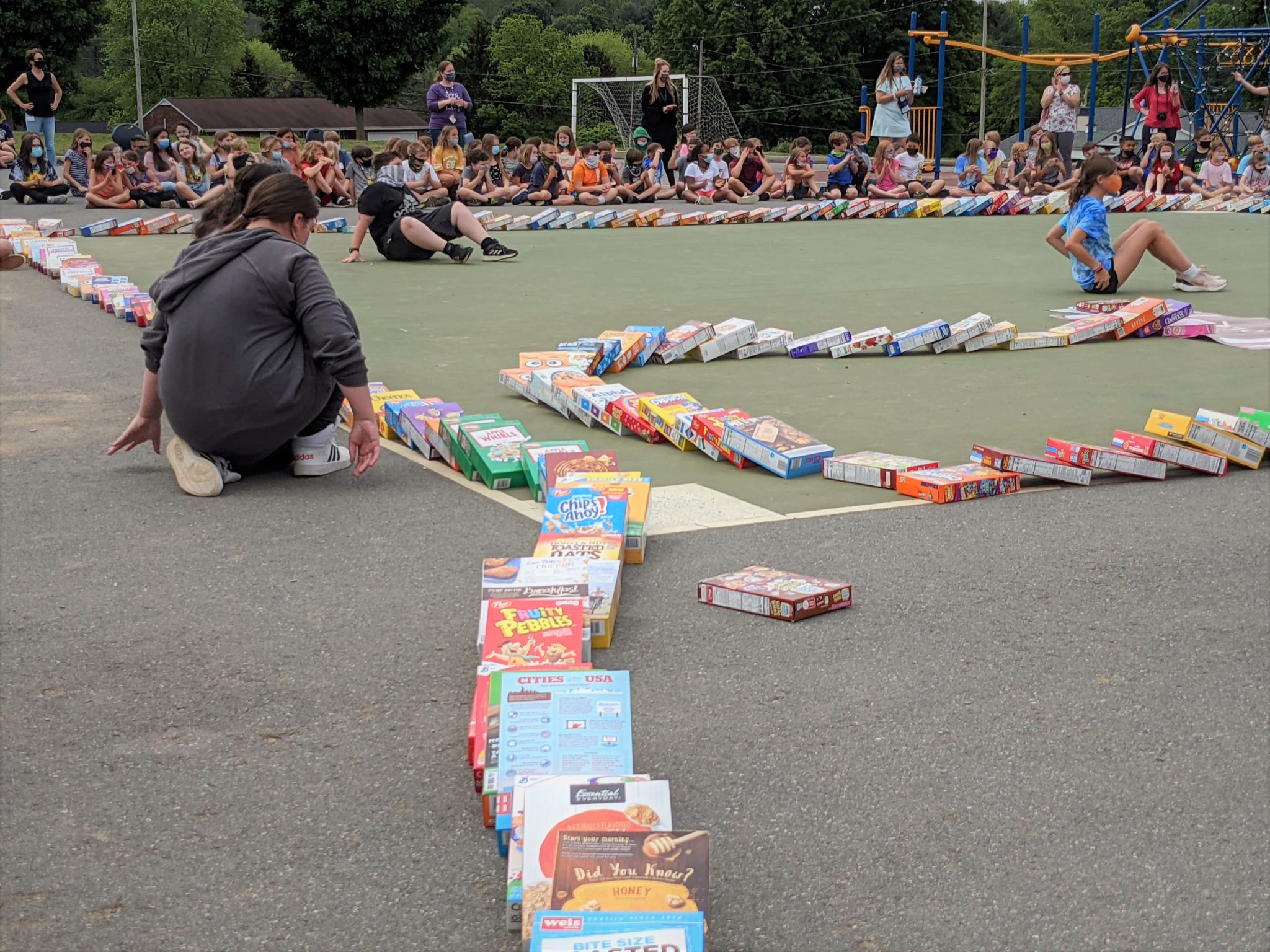 Cereal box dominoes at Conestoga Elementary