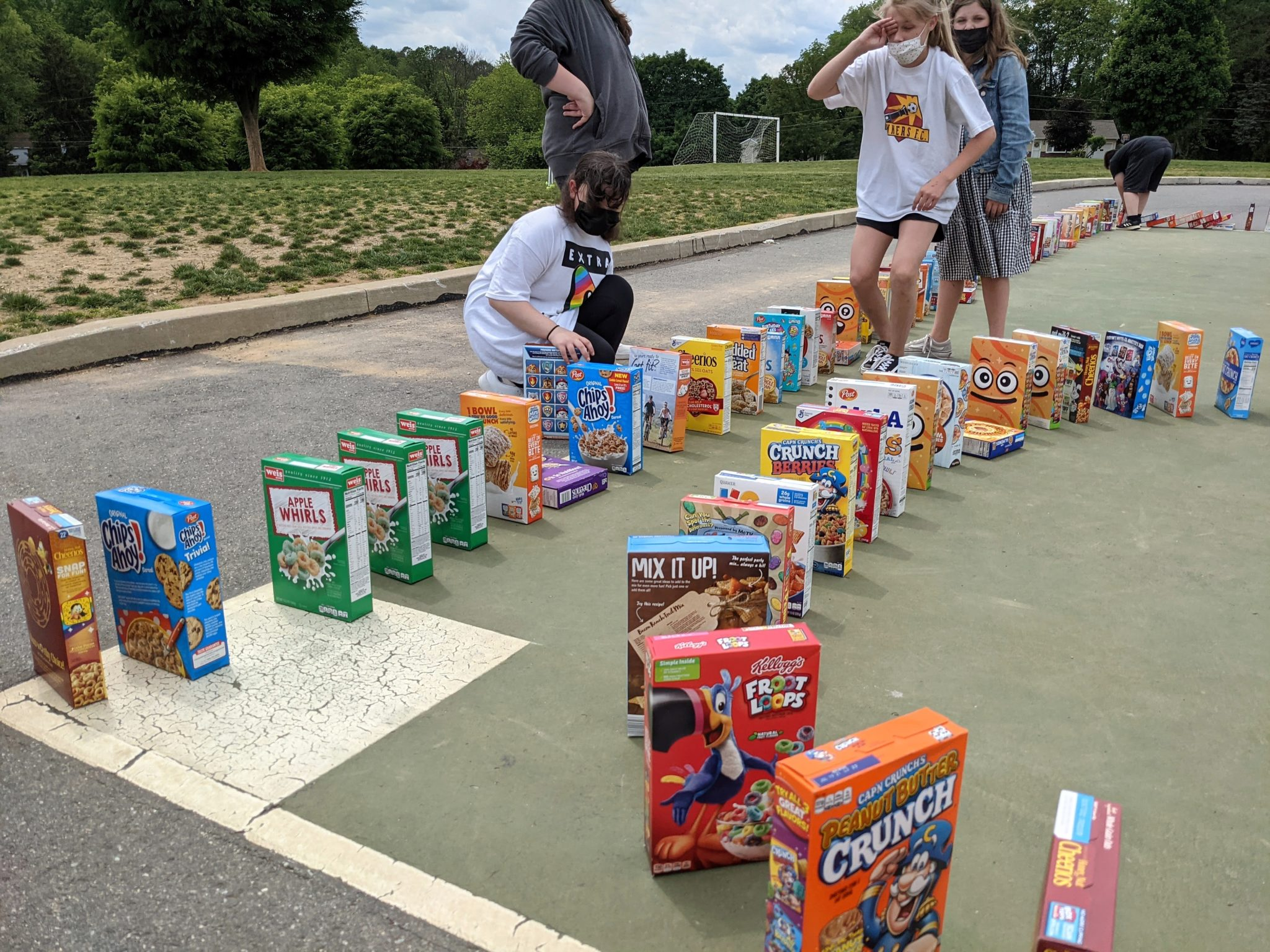 Cereal box dominoes event at Conestoga Elementary
