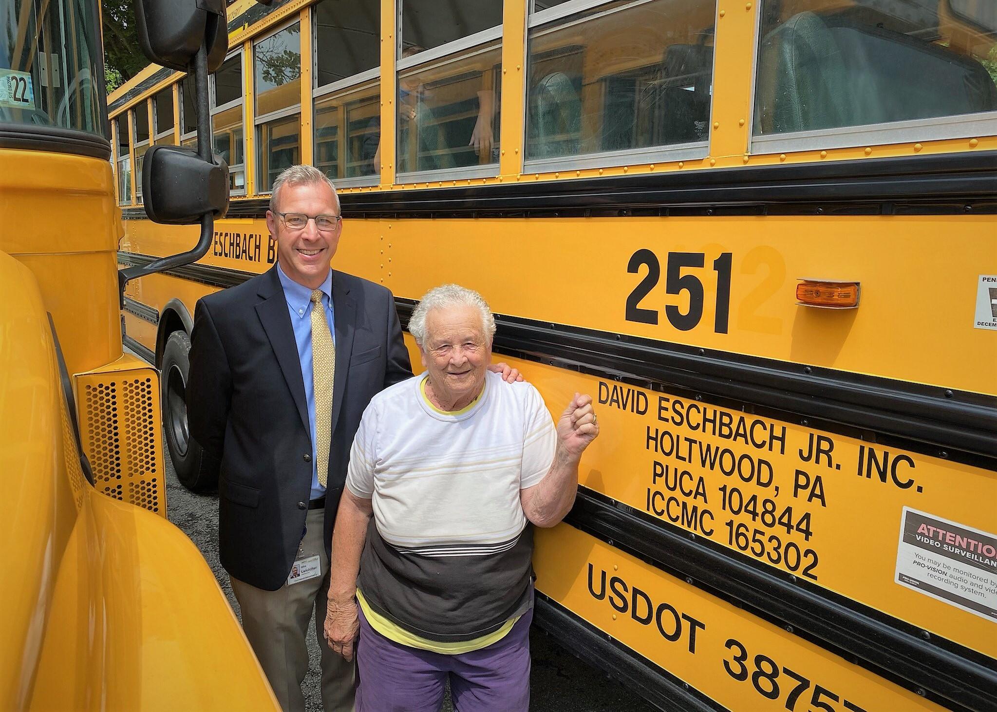 Bus driver Ella Sensenig and superintendent Mike Leichliter