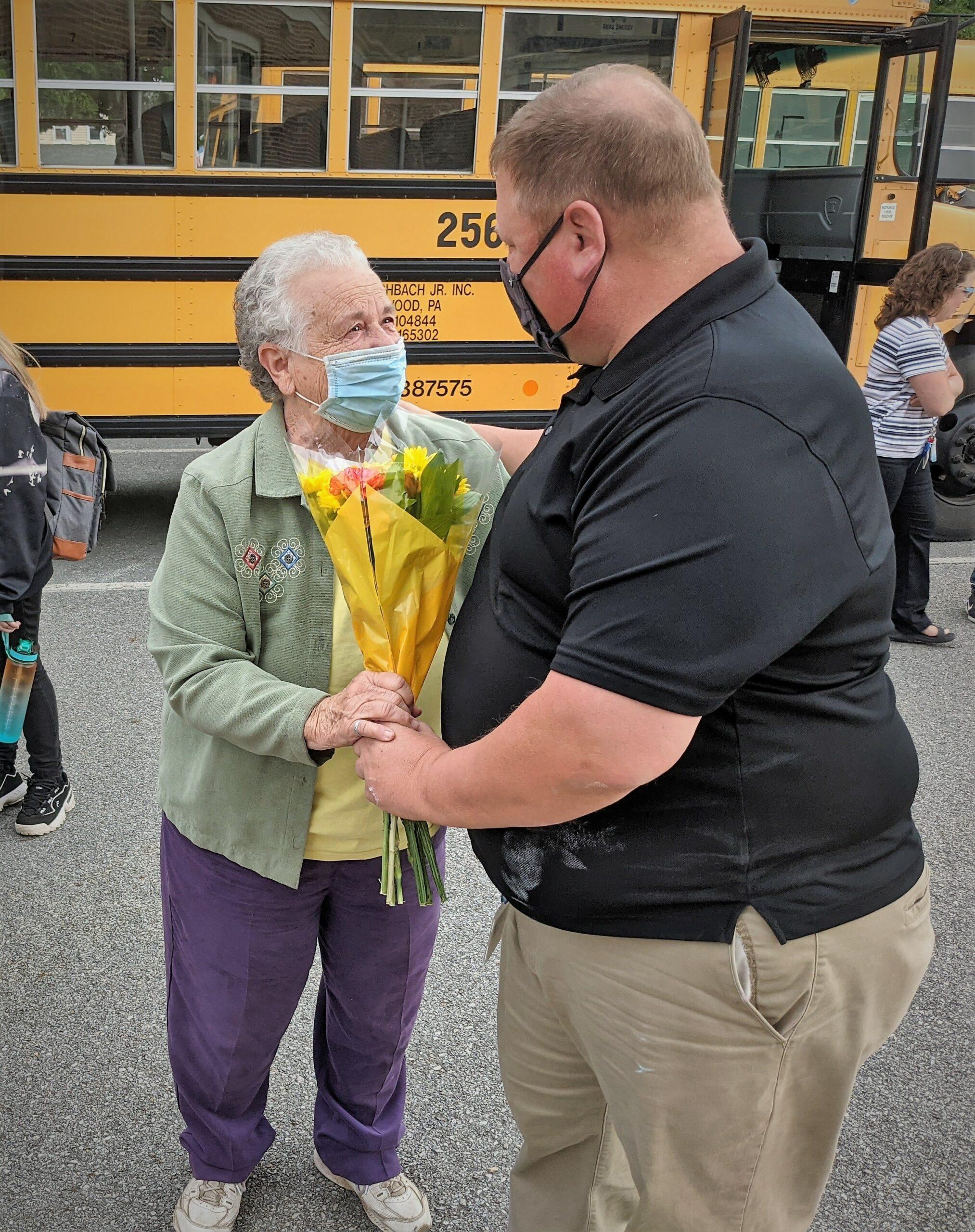 Ella Sensenig receiving flowers