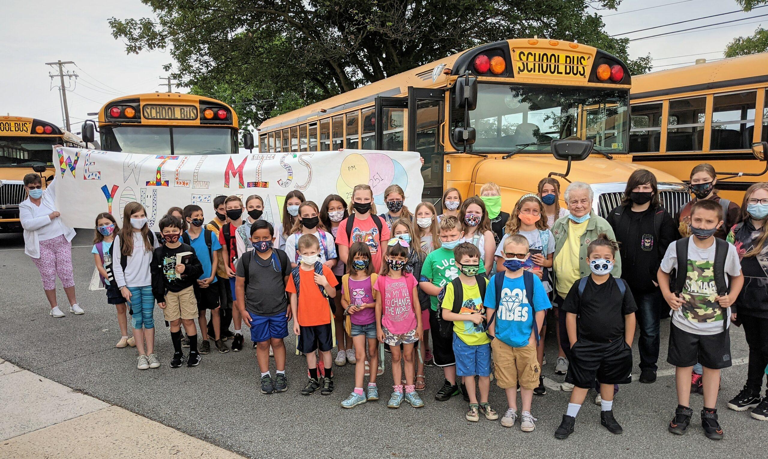 Ella Sensenig and her bus riders