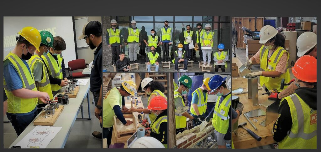 """Students participating in """"Construction Wars"""" events."""